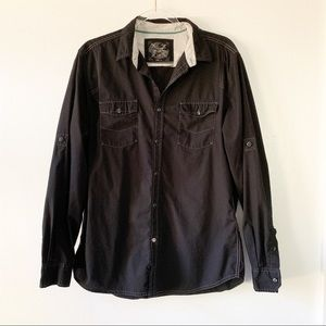Drill NYC Black Button Down Roll Tab Sleeve Large